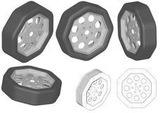 七高八低的轮子 库存例证