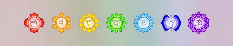 七chakras横幅 免版税图库摄影