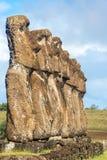七Moai在复活节岛 库存照片