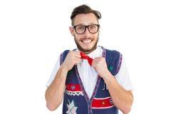 万人迷行家佩带的圣诞节背心 库存图片