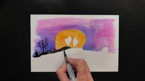 万圣夜不同的颜色生动描述与¨Happy Helloween¨ wihses的图画  影视素材