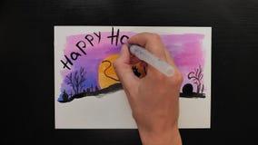 万圣夜不同的颜色生动描述与¨Happy Helloween¨ wihses的图画  股票录像