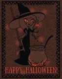 万圣夜与做毒物的逗人喜爱的动画片样式巫婆的贺卡 库存图片