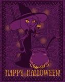 万圣夜与做毒物的逗人喜爱的动画片样式巫婆的贺卡 免版税库存照片