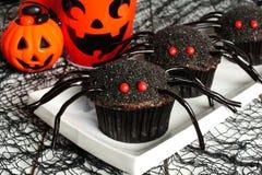 万圣夜与装饰的蜘蛛杯形蛋糕 库存图片