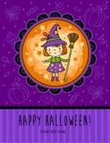 万圣夜与滑稽的巫婆的传染媒介卡片 免版税库存照片