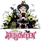 万圣夜传染媒介卡片 吸血鬼服装的女孩 儿童系列 免版税图库摄影