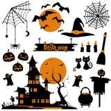 万圣夜传染媒介汇集 黑和橙色剪影,庆祝的标志 库存例证
