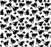 万圣夜传染媒介动画片手拉的猫无缝的样式 免版税图库摄影