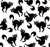 万圣夜传染媒介动画片手拉的猫无缝的样式 免版税库存照片