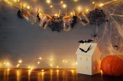 万圣夜假日概念 有光的神奇房子在masson前面刺激与蜘蛛和浴 免版税图库摄影