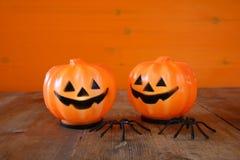 万圣夜假日概念 逗人喜爱的南瓜和蜘蛛 图库摄影