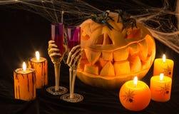 万圣夜假日 有万圣夜南瓜和灼烧的candl 库存图片