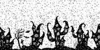 万圣夜党的无缝的边界 免版税库存图片