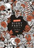 万圣夜党葡萄酒海报 花卉解剖学设计模板 库存例证