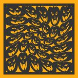 万圣夜几何样式 激光切口的卡片 装饰设计的元素 库存图片
