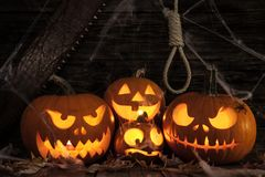万圣夜南瓜头在黑暗的木背景的起重器灯笼 免版税库存照片