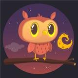 万圣夜卡片,猫头鹰剪影与大眼睛的坐分支反对满月和繁星之夜天空 库存例证