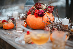 万圣夜启发 仍然秋天生活 南瓜,干燥玫瑰,荚莲属的植物蜜糕 在花瓶 枝杈 在桌上 库存照片