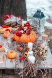 万圣夜启发 仍然秋天生活 南瓜,干燥玫瑰,荚莲属的植物蜜糕 在花瓶 枝杈 在桌上 图库摄影