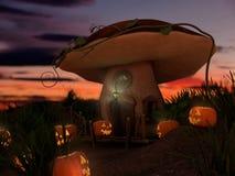 万圣夜和幻想蘑菇 库存例证