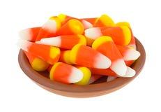 万圣夜在碗的糖味玉米 免版税库存图片