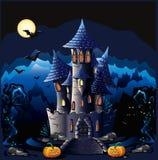 万圣夜城堡 图库摄影