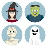 万圣夜字符集 巫婆,妈咪,鬼魂,科学怪人的妖怪 免版税库存照片