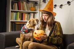 万圣夜巫婆帽子的女孩坐有对起重器` o `灯笼感兴趣的狗的沙发 免版税图库摄影