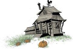 万圣夜房子颜色 免版税库存图片