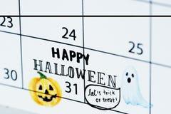 万圣夜日历提示日程表计划者 库存图片