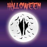 万圣夜月亮和鬼魂愉快的Hallowen天 库存图片