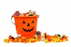 万圣夜杰克o灯笼糖果收藏家用在白色的糖果 库存照片