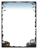 万圣夜框架与南瓜头骨和墓碑的边界页 免版税库存照片