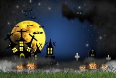 万圣夜概念与恐怖夜,充分充满雾和草和南瓜烧伤火焰,与城堡和坟墓crucifixe 向量例证
