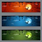 万圣夜横幅传染媒介设计 免版税库存照片