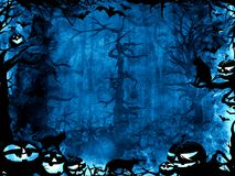 万圣夜深蓝不可思议的神秘的背景 免版税库存图片