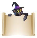 万圣夜猫纸卷标志 库存图片