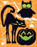 万圣夜猫头鹰、猫和杰克o灯笼 图库摄影