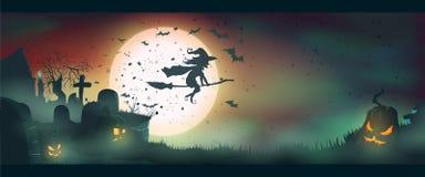 万圣夜的传染媒介例证 南瓜和飞行巫婆 图库摄影