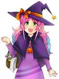 万圣夜的俏丽的巫婆在日本manga样式的,由vec创造 免版税库存图片