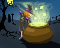万圣夜的巫婆在cemetry 库存图片
