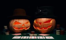 万圣夜的概念 在帽子的邪恶的可怕南瓜戏剧啤牌 免版税库存图片