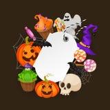 万圣夜礼物用秋天树,棒,糖果,蜘蛛标记 库存例证