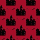 万圣夜红色无缝的样式 免版税库存图片