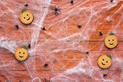 万圣夜背景用装饰南瓜、蠕动的网和sp 免版税库存图片