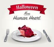 万圣夜菜单-人的心脏 库存图片