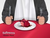 万圣夜菜单-人的心脏 库存照片