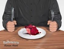 万圣夜菜单-人的心脏 免版税图库摄影
