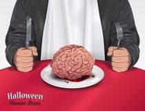 万圣夜菜单-人脑 免版税库存照片
